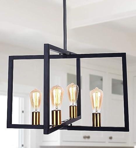 Lingkai Modern Chandelier Kitchen Island Lighting Fixtures, Rectangle Linear Pendant Light Fixtures Ceiling Hanging for Dining Room (Black, 4 Light)