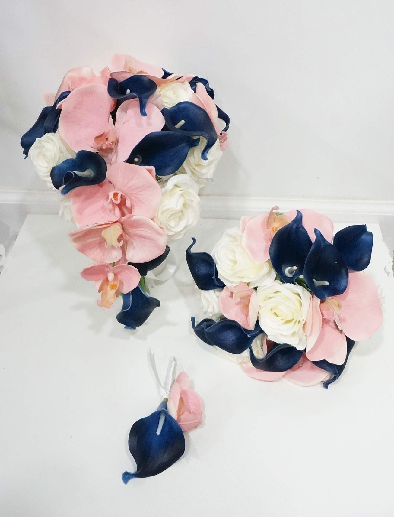 Sweet Home Deco Silk Phanaenopsis Orchid Rose Calla Lily Mixed Wedding Bridal Bridesmaid Bouquet Boutonniere Blush Pink/Navy Blue/White (Pink/Blue/White-Cascading Bouquet) by Sweet Home Deco