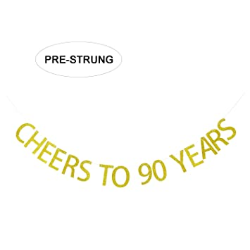 Gold Glitter Cheers To 90 Years Banner