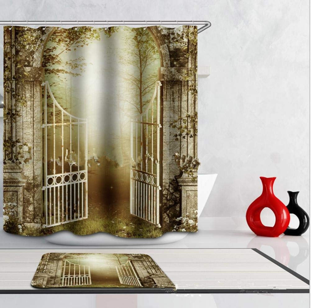 JaHGDU Shower Curtain 1pcs Shower Curtain 3D Digital Printed Large Version Landscape Waterproof Thickened Toilet Shade Super Quality Opaque Bathroom Amenities (Color : 1, Size : 180 wide180 high)