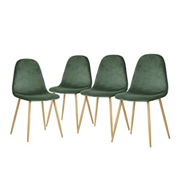 Outstanding Greenforest Dining Chairs Modern Velvet Living Room Chairs With Sturdy Metal Legs And Fabric Padded Seat Set Of 4 Green Download Free Architecture Designs Rallybritishbridgeorg