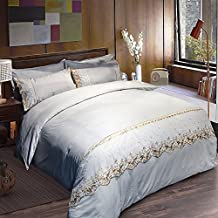 HIGOGOGO 5pcs Floral Embroidered Lace Duvet Cover Set(1 Duvet Cover+1 Flat Sheet+1 Fitted sheet+2 Pillow Shams) Soft Polyester Microfiber Boys Girls Twin Full Queen Size(Full)