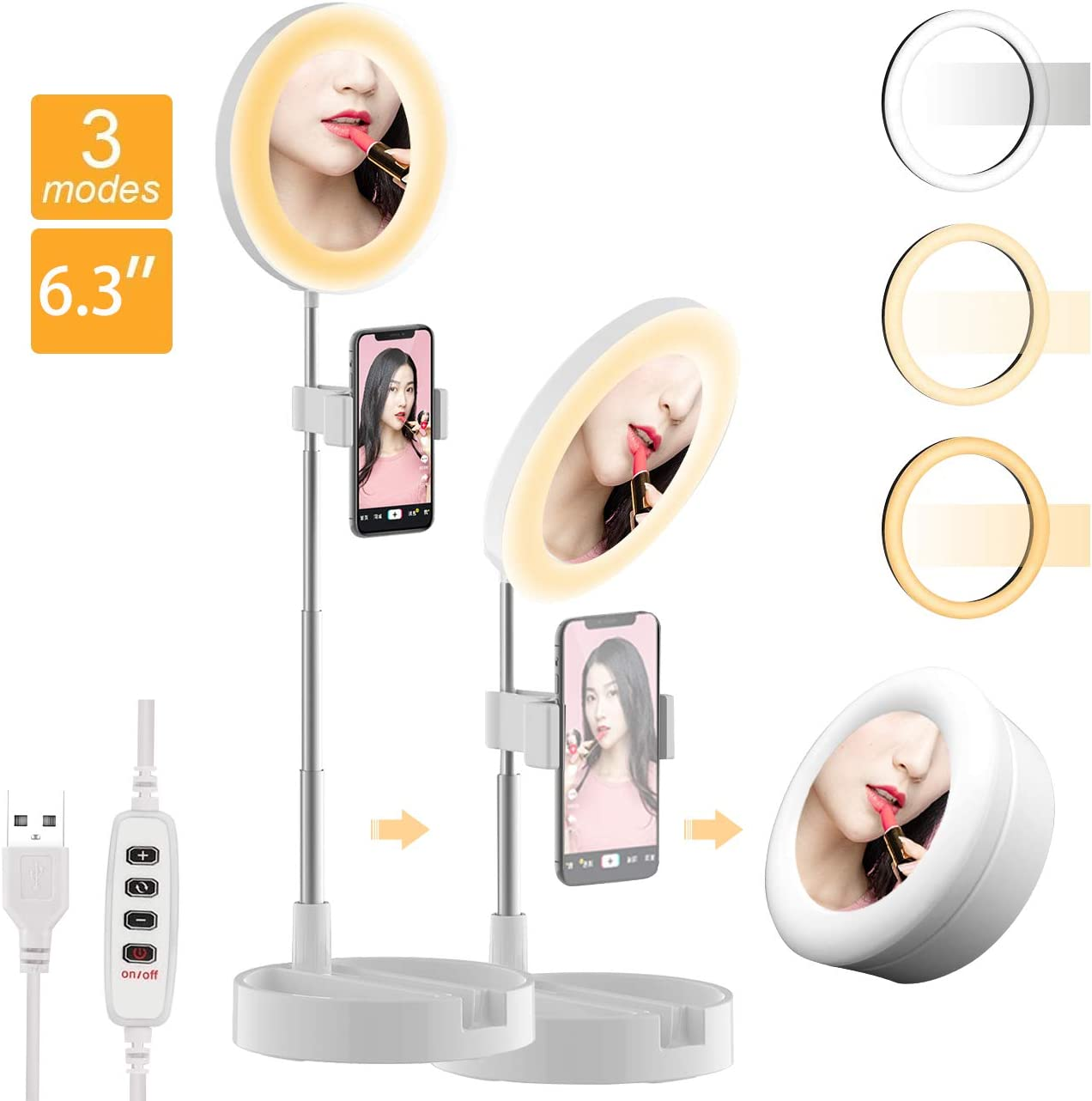 USB 6.3'' Portable Ring Light 3 Color Modes and 10 Brightness Foldable Makeup Light with Mirror, Stand and Phone Holder for Vlogging YouTube Video Shooting Make up (White)