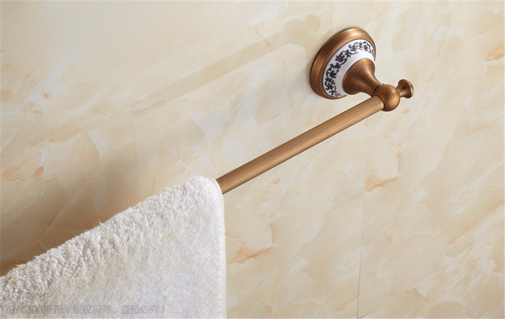 XXSZKAA Antique Bathroom Accessories Towel Bar Vintage Towel Bar Copper Brushed Single Spa Bath Ceramic Base Decoration, 60Cm by XXSZKAA-Towel rack (Image #5)