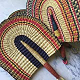 Vibrant African Fan with Leather Handles