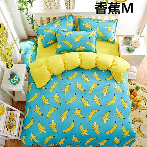 Fruits Apple Lemon Stlye Cotton 4Pcs Bedding Set 1 Duvet cover 1 Sheet 2 PillowSingle^^^Banana^^^multi-colored