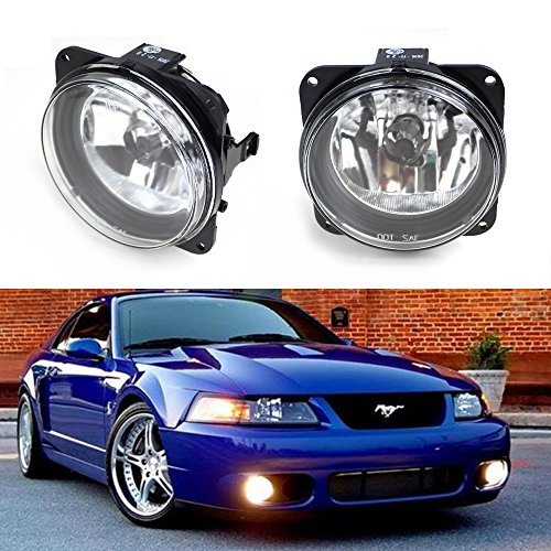 iJDMTOY Complete Set Fog Lights Foglamps with H10 9145 Halogen Bulbs For Ford Escape/Mustang Cobra/Focus SVT or Lincoln LS