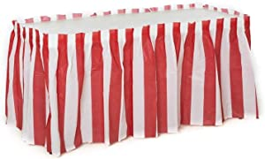 Oojami 2 Pack Red & White Striped Table Skirt Carnival Circus Decorations