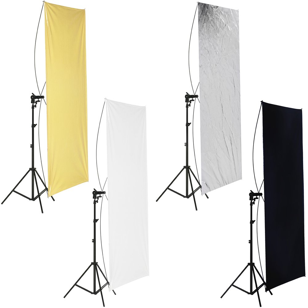 Neewer 28x43 inches/70x110 centimeters Flat Panel Light Reflector, Gold/Silver and Black/White with 360 Degree Rotating Holding Bracket and Carrying Bag for Photo Studio Shooting 10089426