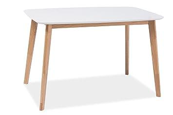 SUVERO Esstisch Esszimmertisch Holztisch Echtholztisch Milo I in Weiß Eiche  Natur 120 x 75 cm Skandinavisches Design