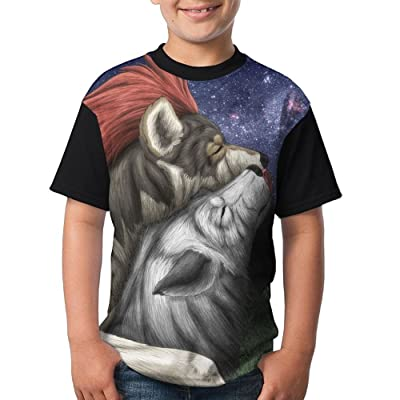 Uskjdjksad34 Kids Tow Wolfs Hug 3D Printing O-Neck T-Shirt for Boys Girls