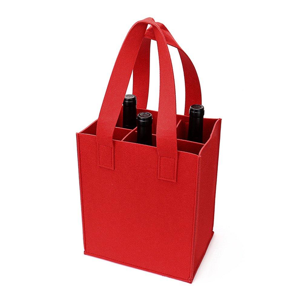 Borsa di vino spessa con manico, HomeYoo borsa da regalo per bottiglia di vino per il partito di viaggio festa di compleanno, riutilizzabile lavabile con divisore smontabile, non allergenici (6 Bottiglie, Grigio Scuro)