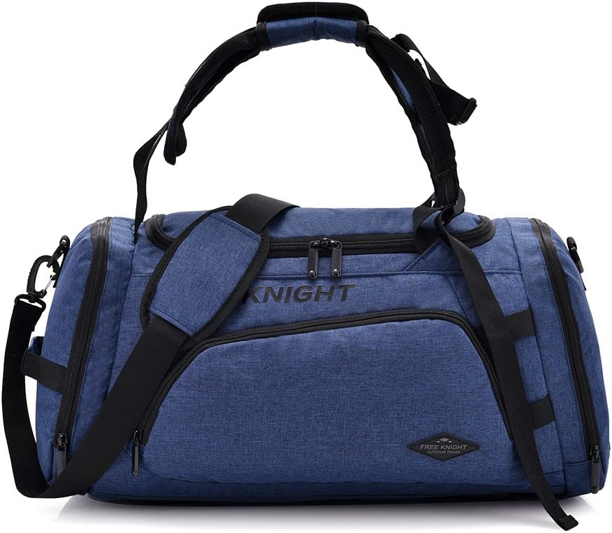 35-40L 3 Way Waterproof Sports Gym Travel Weekender Duffel Bag with Shoe Compartment Overnight Bag (Blue)