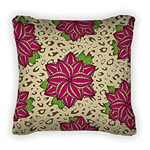 Gear New Pink Rose Flower Leopard Patter Throw Pillow,