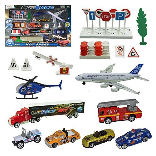 Joyin Toy City Vehicles Cars Educational Play Gift Set Including 8 Different style Vehicles, Road Signs, Accessories and a Play Map-Great Toys Gift