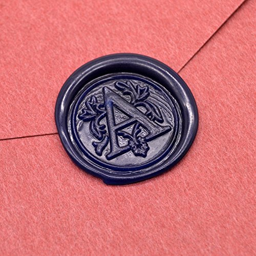 1PC Sealing Spoon + 5 Pcs Flowers Manuscript Sealing Seal Wax Sticks Sealing Wax for Postage Letter Retro Vintage Wax Seal Stamps in Navy Blue