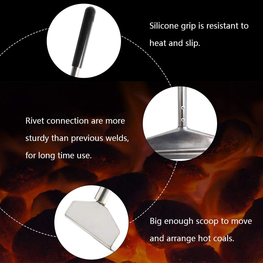 Mydracas Charcoal Grill Rake Grill Ash Tool Accessories,Charcoal Kettle Grill Pizza Oven Ash Rake Stainless Steel-32 inch
