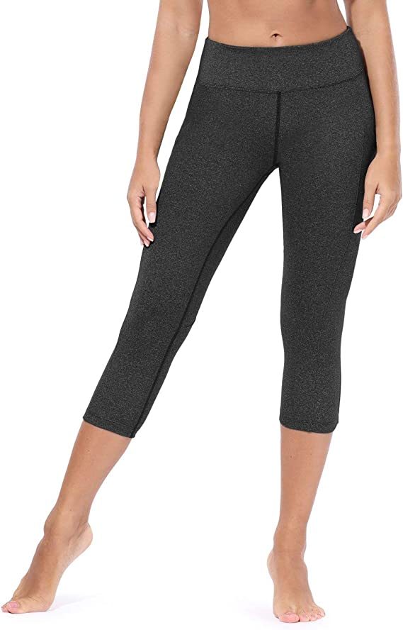 BALEAF Womens Yoga Workout Capris Leggings Athletic Non-See Through Mid Waist Pants Side Pocket capri