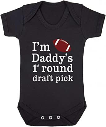I/'m daddy/'s first round draft pick FOOTBALL Baby Vest  Baby Grow  Baby Playsuit
