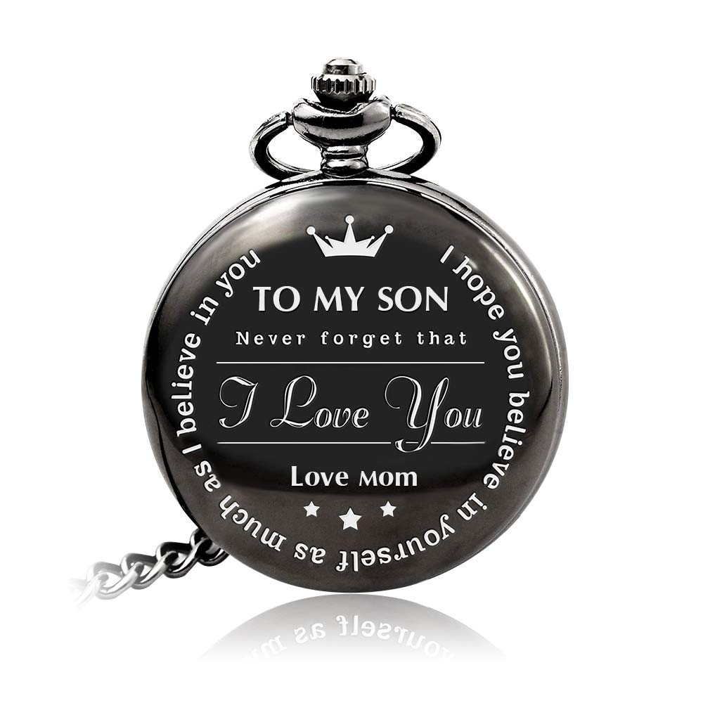 Bijours Black Vintage Quartz Roman Numerals Necklace Pocket Watch Gift,to My Son, Never Forget That I Love You, Love Mom, Suitable for Son's Birthday, Wedding and Important Day Best Gift for Son