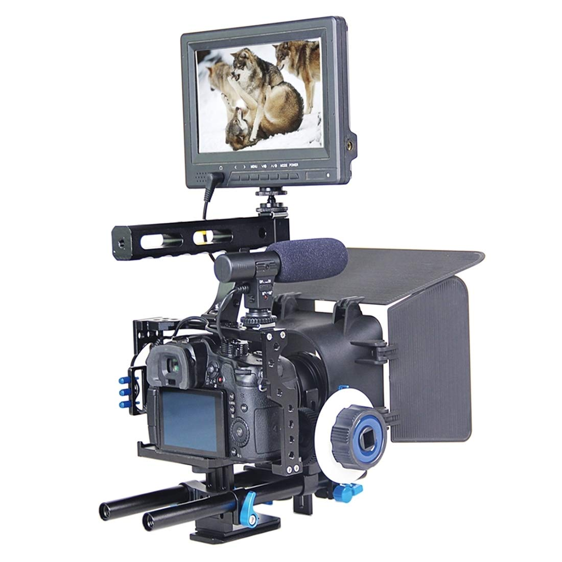 Shenbiadolr カメラショルダーサポート YLG0904A ハンドルビデオケージキット マットボックス付き フォローフォーカス パナソニック Lumix DMC-GH4 ソニー A7 A7S A7R A7RII A7SII用   B07L3TSMKT