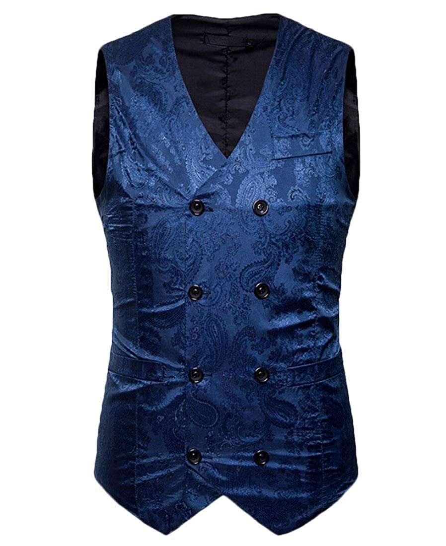 heymoney Men Vest Dress Vest Double-Breasted Slim Work Wear Formal Vest
