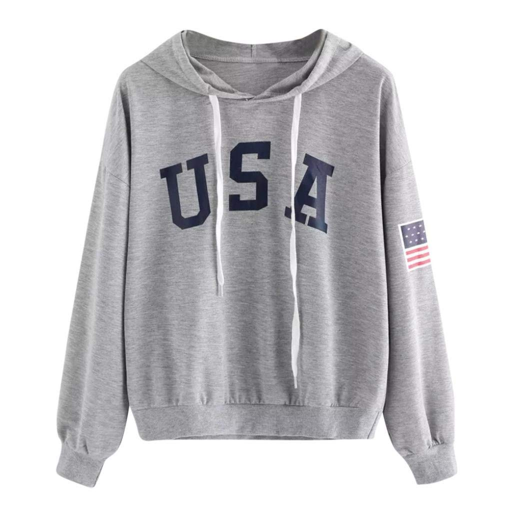 Showking@ Women's USA Flag Printed Sweatshirt Long Sleeve Crop Top Sweatshirt Pullover Hoodies Top for Girl (L, Gray)