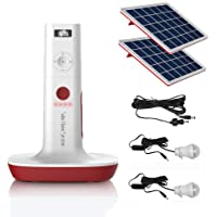 UPEOR Solar Generator Lighting System Portable Solar Power Generator Kit for Emergency Power Supply,Home & Outdoor Camping,Including MP3&FM Radio,Solar Panel,3 Sets LED Lights (Tower Generator)