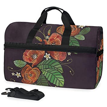 Leaves Flowers Sports Gym Bag with Shoes Compartment Travel Duffel Bag for Men and Women