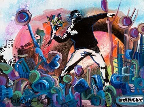 Lanzando Flores Banksy Tribut Pintura Original Hecha A Mano