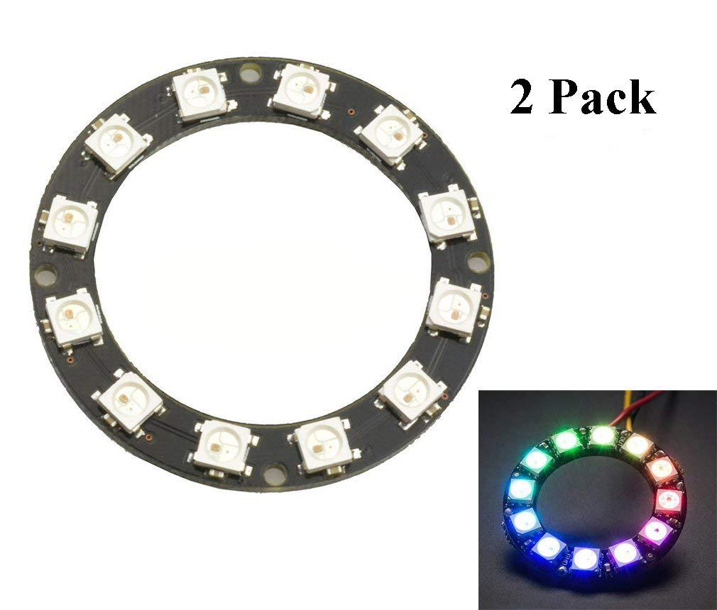 HiLetgo 2pcs 12 Bit WS2812 5050 RGB LED Ring With Integrated Driver Module For Arduino HiLetgo® 4334419428