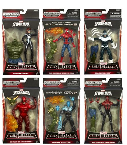 Amazing Spider-Man 2 Marvel Legends Infinite Set of 6 Action Figures [The Amazing Spider-Man, Superior Spider-Man, Electro, Spawn of Symbiotes (Toxin), Deadliest Foes (Boomerang) & Skyline Sirens (Arana)]