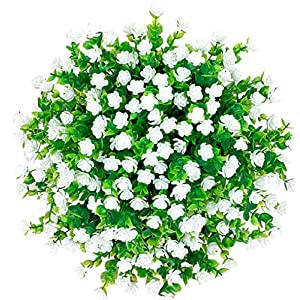 CQURE Artificial Flowers, Fake Flowers Artificial Greenery UV Resistant Plants Eucalyptus Outdoor Bridal Wedding Bouquet for Home Garden Party Wedding Decoration 5 Bunches (White) 49