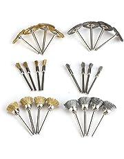 24Pcs Brass Steel Wire Brush Polishing Wheels Full kit for Dremel Rotary Tools