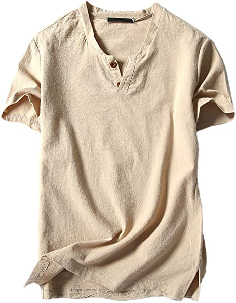 WEFAAS Camisetas Men S Fashion Summer Casual Algodón Y Lino ...