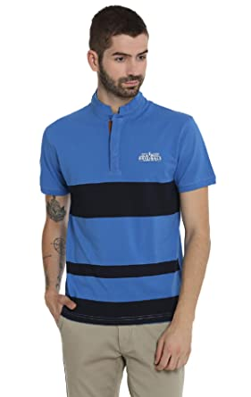 faa0ed2c7 Image Unavailable. Image not available for. Colour: Nucode Men's Cotton  Royal Blue Stripe Banded Collar Neck Half Sleeve T-Shirt/Tshirt