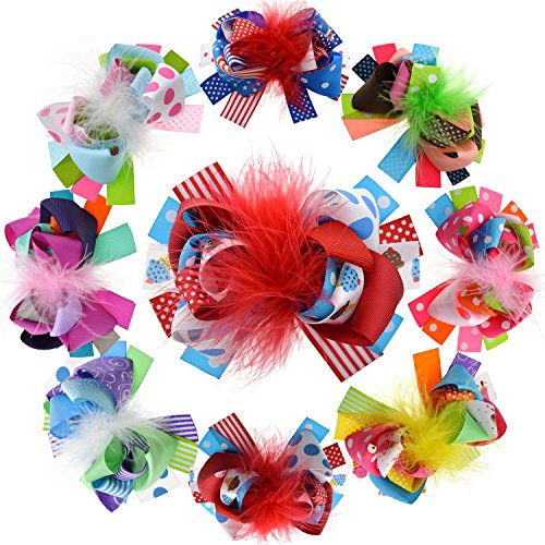 LCLHB 5 Inch Feather Ribbon hairbows Alligator Clips for Toddler Women Pack of 8