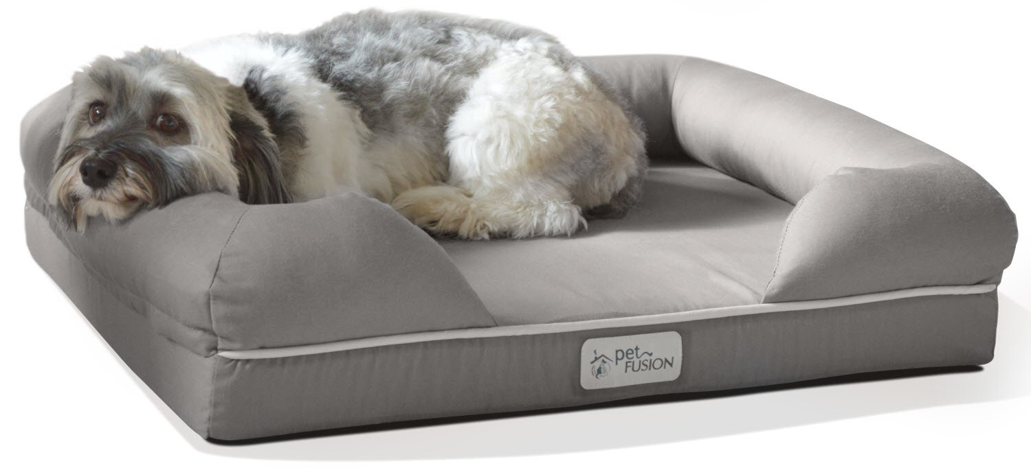 PetFusion Small Pet Bed w/Solid 2.5'' Memory Foam, Waterproof liner, YKK premium zippers. [Ultimate Lounge 25x20x5.5; dog beds furniture also for cats]
