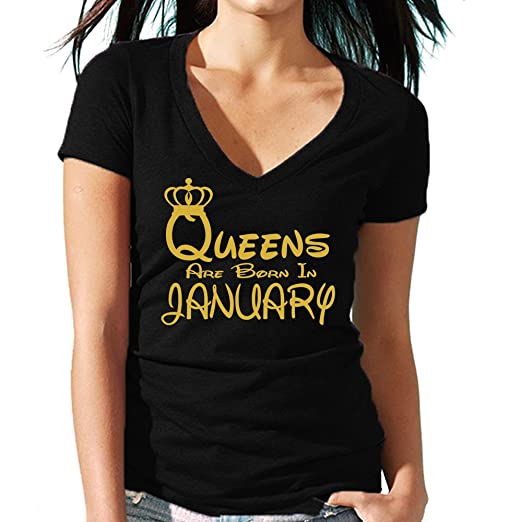 5e756e070 CRAZYDAISYWORLD Queens Are Born in January V-Neck T-Shirt Black Gold  Lettres (