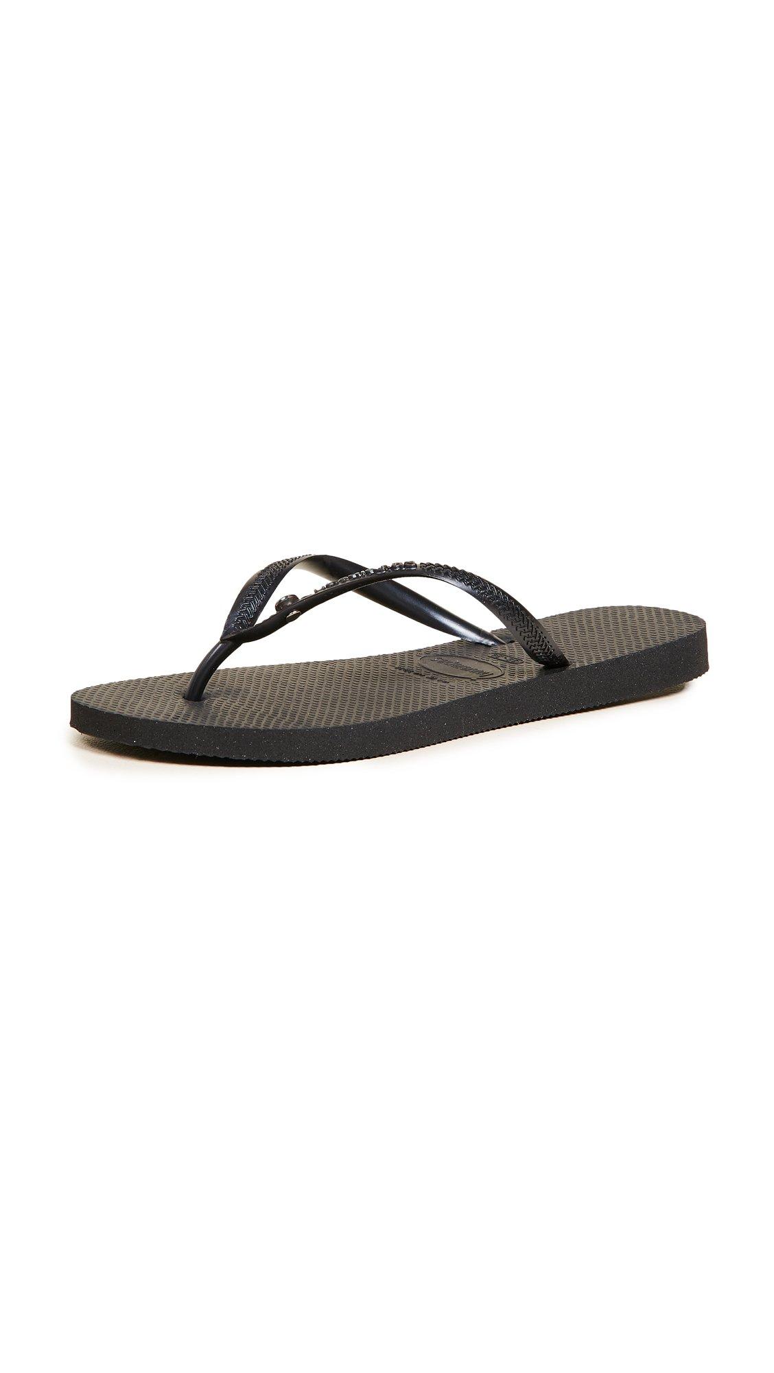 Havaianas Women's Slim Flip Flop Sandals, Crystal Glamour SW,Black,37/38 BR (7-8 M US)