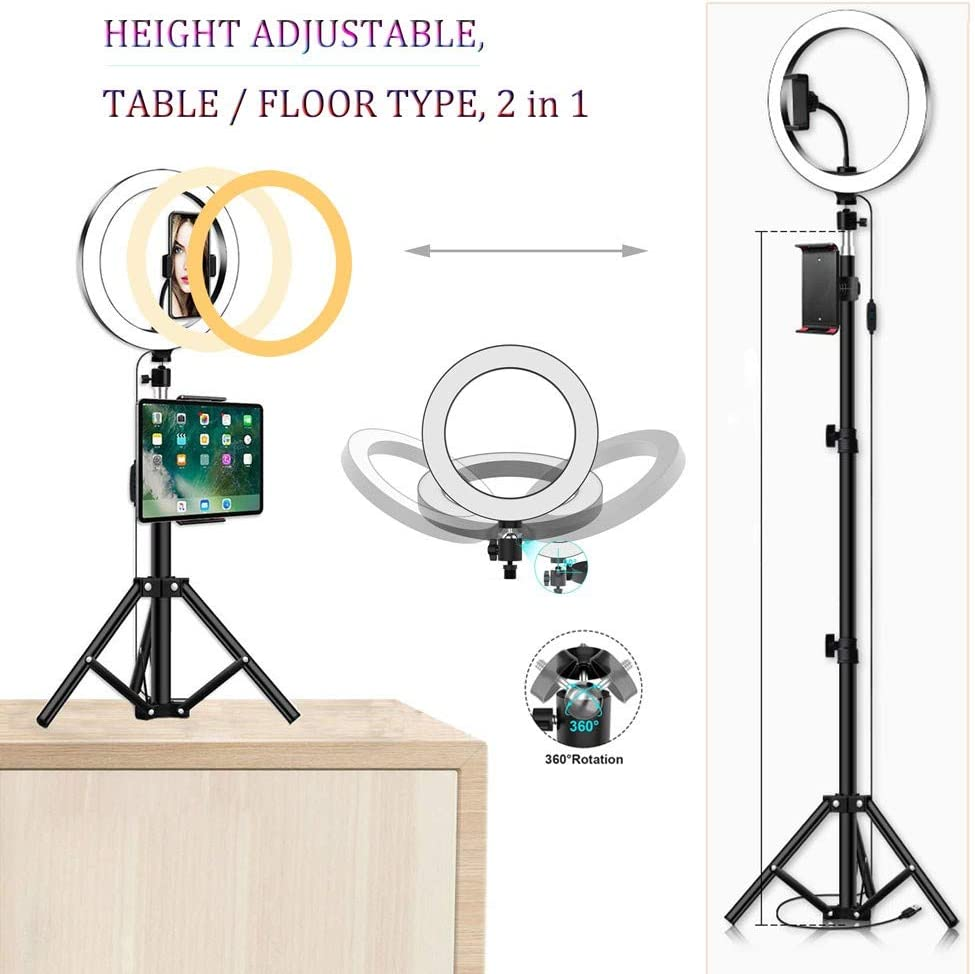 9 Desktop LED Lamp with Tripod Stand Makeup LED Ring Light Bluetooth Receiver USB Charging Dimmable 3 Light Modes Temperature 3600LM with Cell Phone Holder for Smartphone YouTube Self Video
