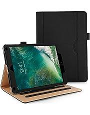 Anjoo Compatible pour Coque iPad 9.7 2018 2017/ iPad Air 2/ iPad Air 1, [Stand à Trois Volets] [Auto Sleep/Fonction de Réveil] [Pochette de Document], Noir