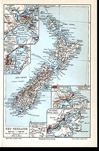 New Zealand Auckland Map.Amazon Com New Zealand Auckland Wellington Stewart Island 1909