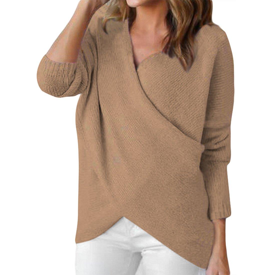 e9883e9d0b53 365-Shopping Women s V Neck Chunky Cross Wrap Loose Pullover Sweater Jumper  Top  Amazon.co.uk  Clothing