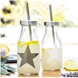 Botella de Vidrio con Pajita Star