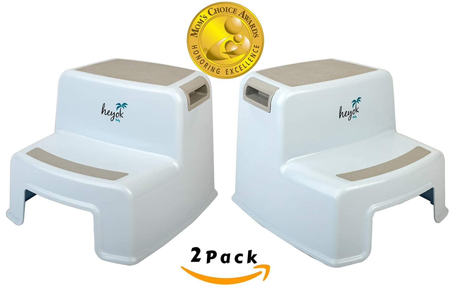 Dual Height 2 Step Stool (2-Pack) Mom's Choice Award Winner with Anti-slip Safety Rubber Pads – Kids step stool with Easy & Safe Pot Training and Teeth Brushing for Kids, Toddlers, and Children HEYOK Baby HB503