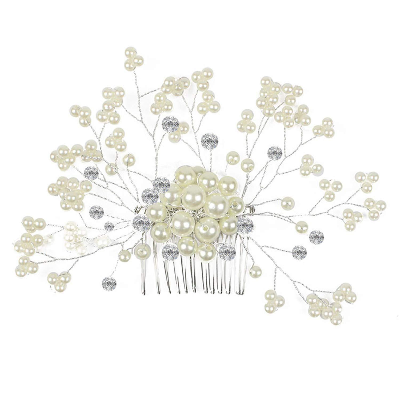 Haarschmuck, Brautschmuck, Haarnadeln,- 3pcs Art und Weise Retro Elegante Damen Perlenrhinestone Haarclip Hochzeit Brautschmuck Braut Haar Zubehör Kopfstück Hochzeit Zubehör (Color2) KQueenStar