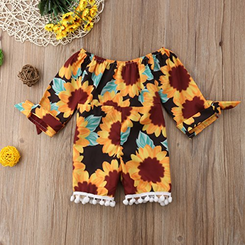 3471a3536be Amazon.com  Toddler Baby Girl Clothes Off Shoulder Sunflower Pompom Romper  Jumpsuit Outfits with Belt  Clothing