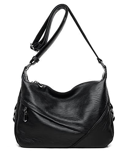 Amazon.com  Molodo Women PU Leather Big Shoulder Bag Purse Handbag Tote  Bags Black  Shoes 2f122d0b3625a