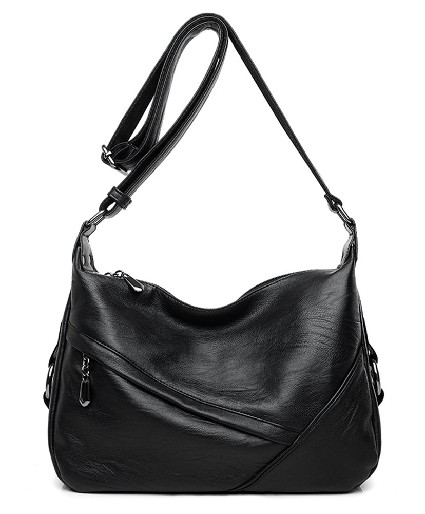 Molodo Women PU Leather Big Shoulder Bag Purse Handbag Tote Bags Black